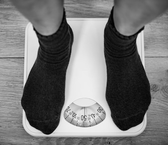 Woman on a weight scale