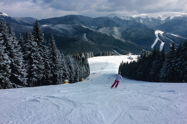 스키를 탄 여성은 carpathian의 스노우 트랙에서 산에서 내려옵니다. 리프트와 숲과 스키 슬로프의 배경. 씨
