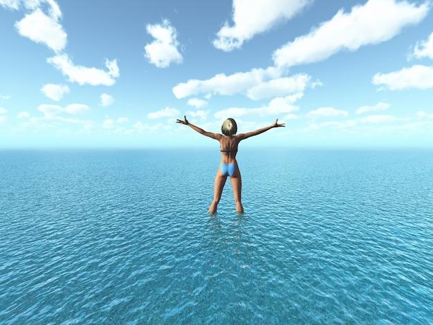 3dは彼女の腕を伸ばしてビキニに女性のレンダリング海の中に立っていました