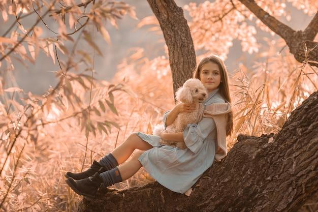 木の近くの森で彼女の手にペットを連れて路上の女性。