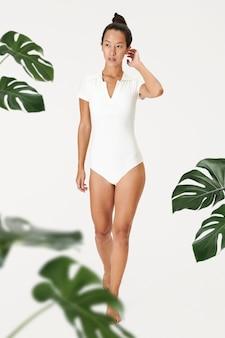 Woman in one piece bathing suit, swim wear