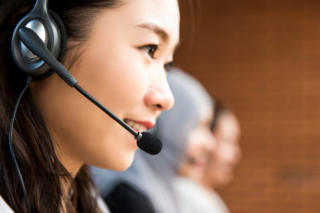 Woman operator working in call center