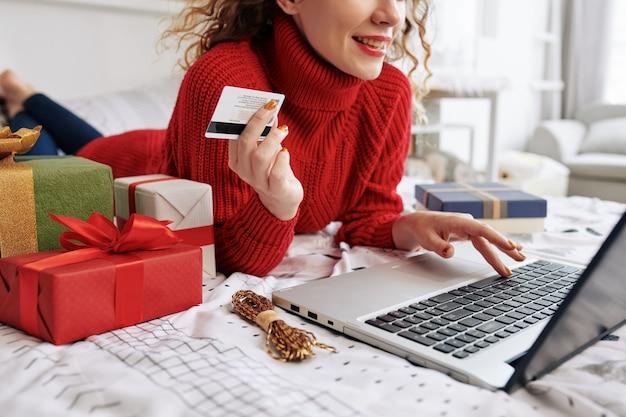 Woman ordering christmas presents