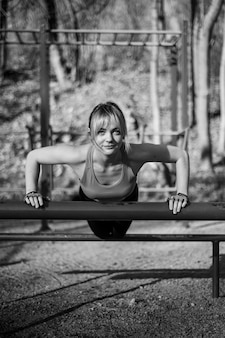 Woman outdoor training gym