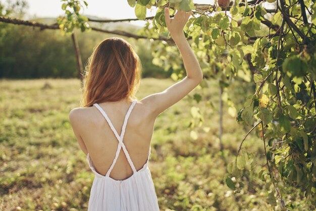 太陽の木の緑の葉の近くの屋外の女性。高品質の写真