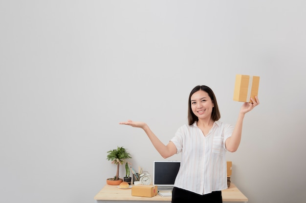 Woman owner work online shopping at home