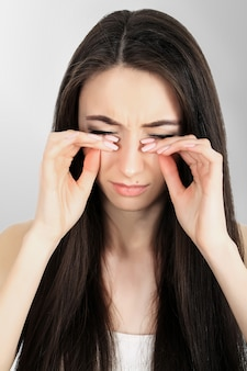 Woman pain. girl having strong headache, suffering from migraine