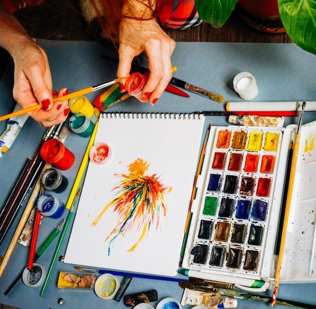 女性画家は白い紙に絵を描く
