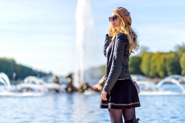 Woman at paris fountains, france