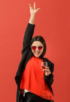 Woman at party drinking wine