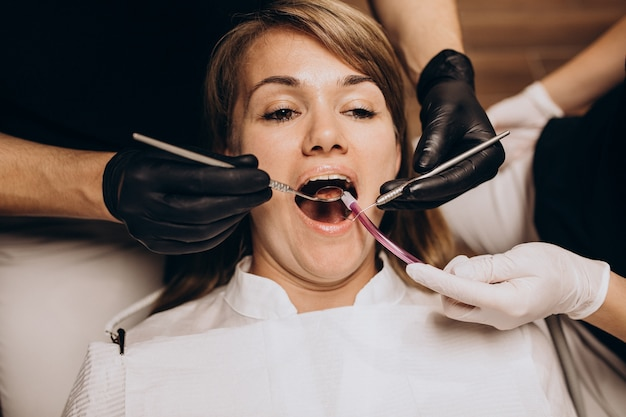 Woman patient visiting dentist