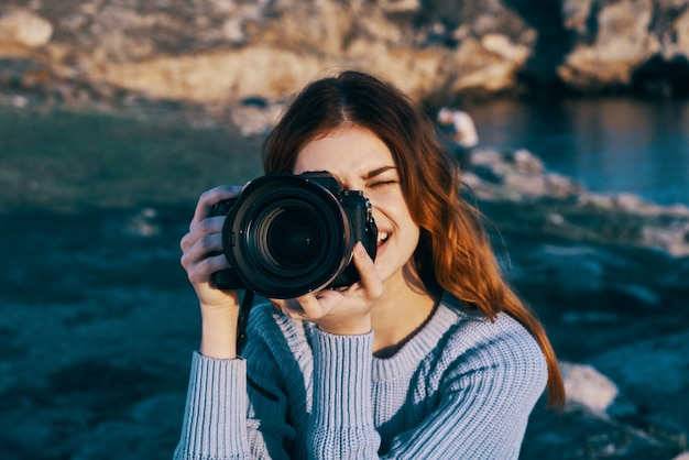 Woman photographer nature rocky mountains travel vacation fresh air
