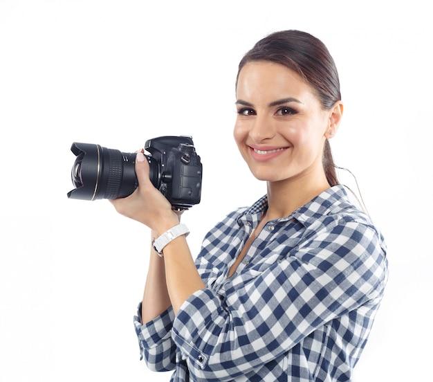 Woman photographer at work