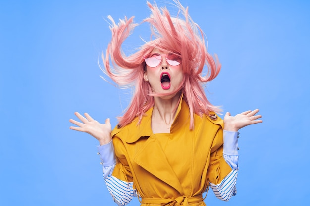 Woman in a pink wig, clothes