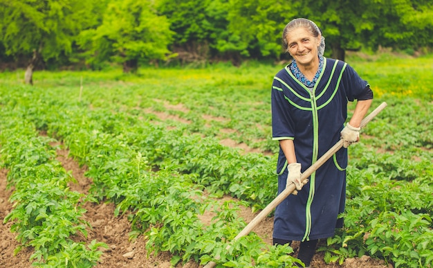 Woman planting vegetables and smiling in the farm with equipments.