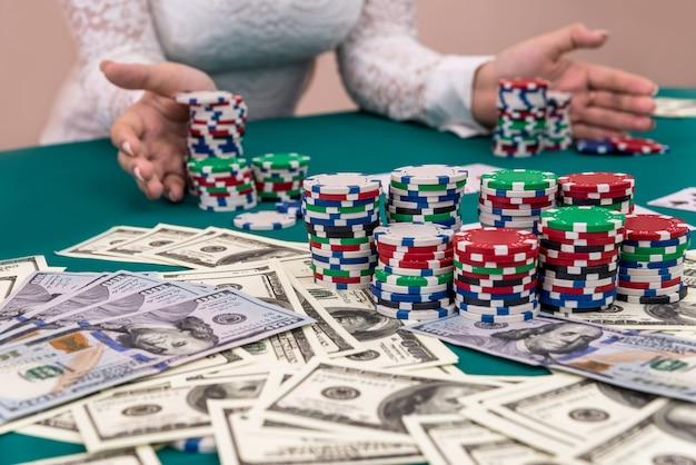 도박, 내기를 만드는 카지노에서 여자 선수