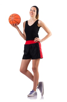 Woman playing basketball isolated on white