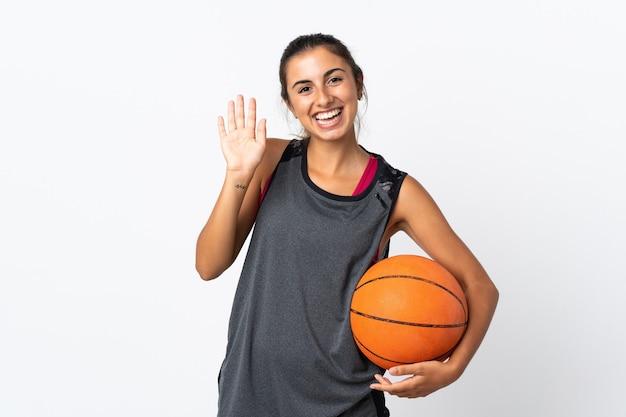 バスケットボールをしている女性
