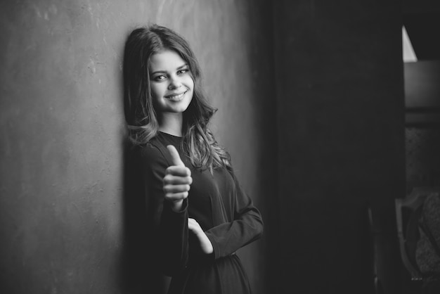 Woman portrait black-white studio