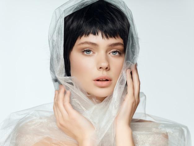 Woman portrait black wig, beauty portrait