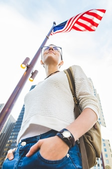 Woman portrait in chicago with usa flag