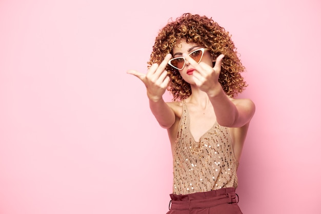 Woman portrait with middle finger sign