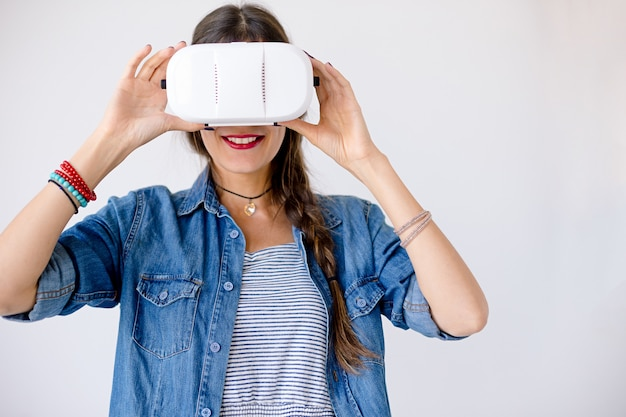 Woman portrait with vr glasses