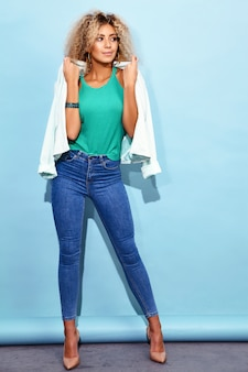 Woman posing in casual modern clothes