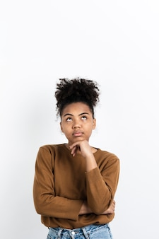 Woman posing while thinking