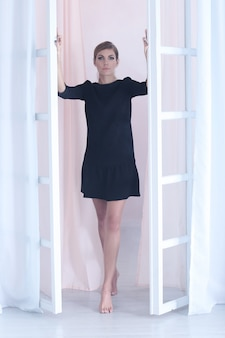 Woman posing on the window