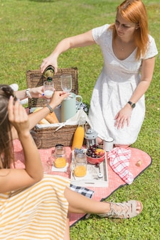 Woman pouring beer in glass hold by her friends on picnic