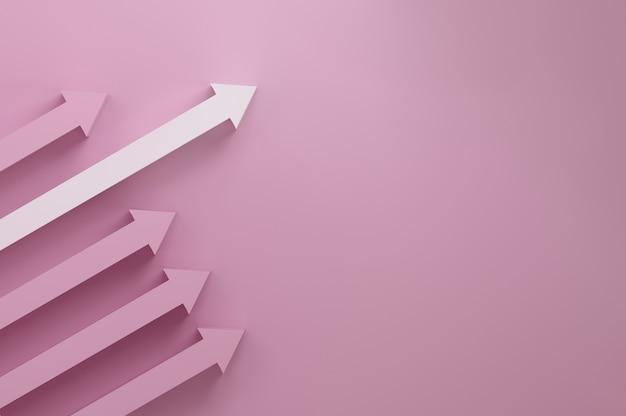 Женская сила. выбранный. белая стрелка, торчащая из остальных стрелок розового цвета. к концепции успешного роста.