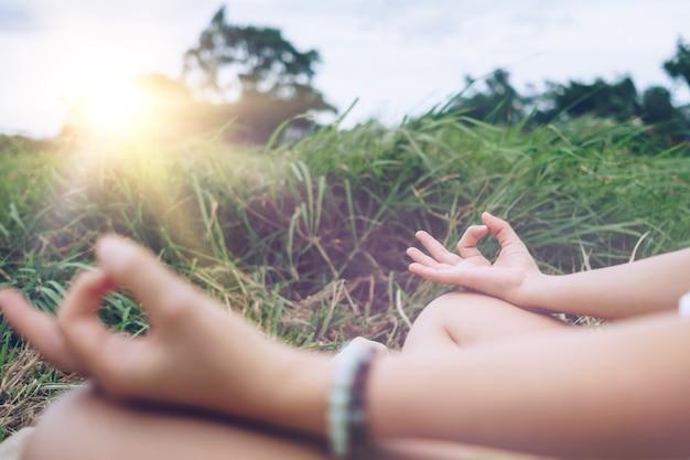 요가 수업, 호흡, 명상 운동, 야외 잔디밭에서 연습하는 여성. 웰빙, 웰빙 개념