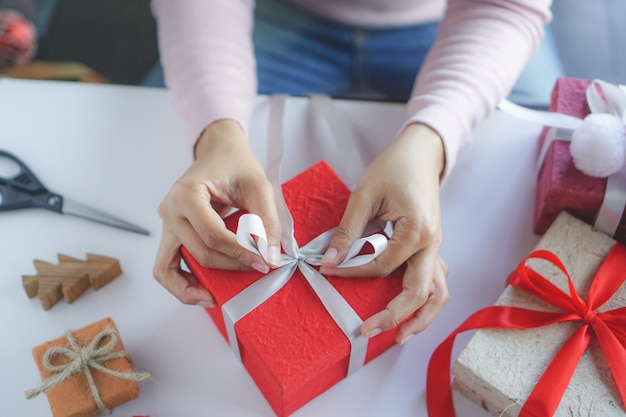 Woman prepare diy gift.