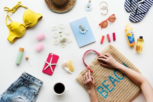 Woman prepare stuff for summer beach