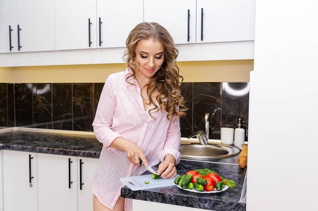 Woman prepare veggie dish