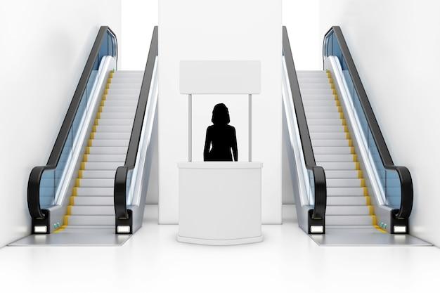 빈 광고 홍보 배너 뒤에 있는 여성 프로모터 실루엣은 실내 건물 쇼핑 센터, 공항 또는 지하철역 극단적인 폐쇄에 있는 현대적인 럭셔리 에스컬레이터 사이에 서 있습니다. 3d 렌더링