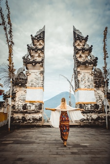 Woman at pura lempuyang temple in bali