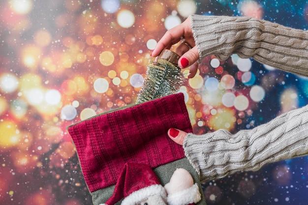Женщина, ставя маленькую елку в рождественский носок