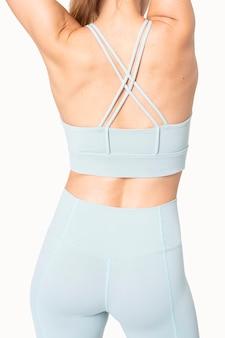 Woman in racerback sports bra sportswear apparel back view photoshoot