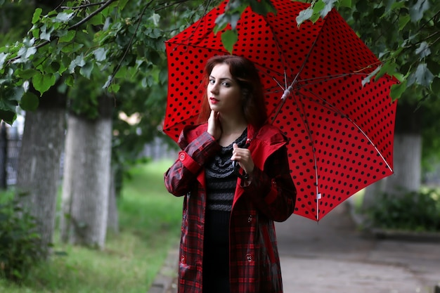 Woman in a raincoat and an umbrella
