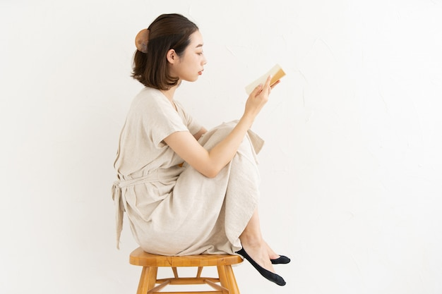 Woman reading the book