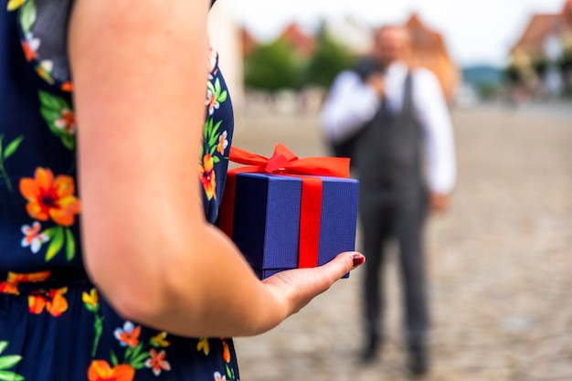 Woman ready to give a present