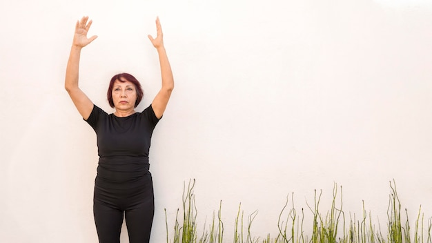 Woman ready to jump fitness exercises