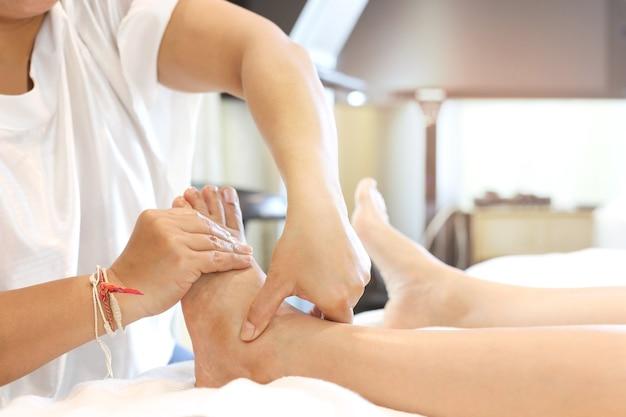 Woman receiving a foot massage