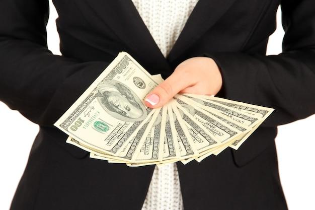 여자는 달러를 계산
