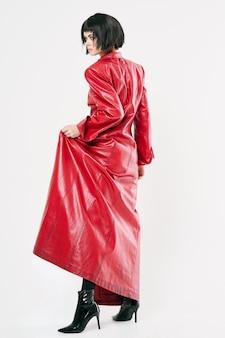Woman in red coat glamor luxury fashion glamor