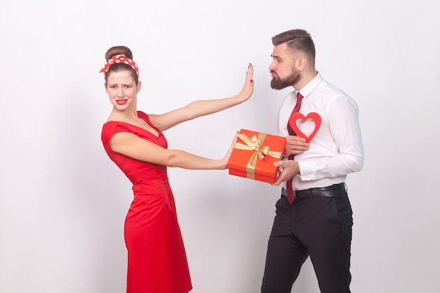Woman in red dress dont need present and love
