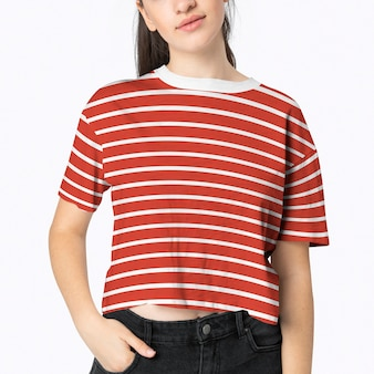 Woman in red striped crop top fashion shoot