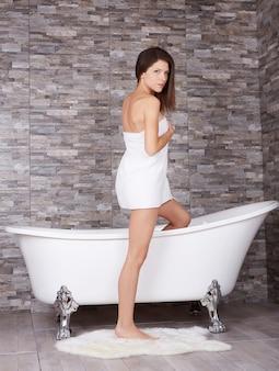 Woman relax in bath tube
